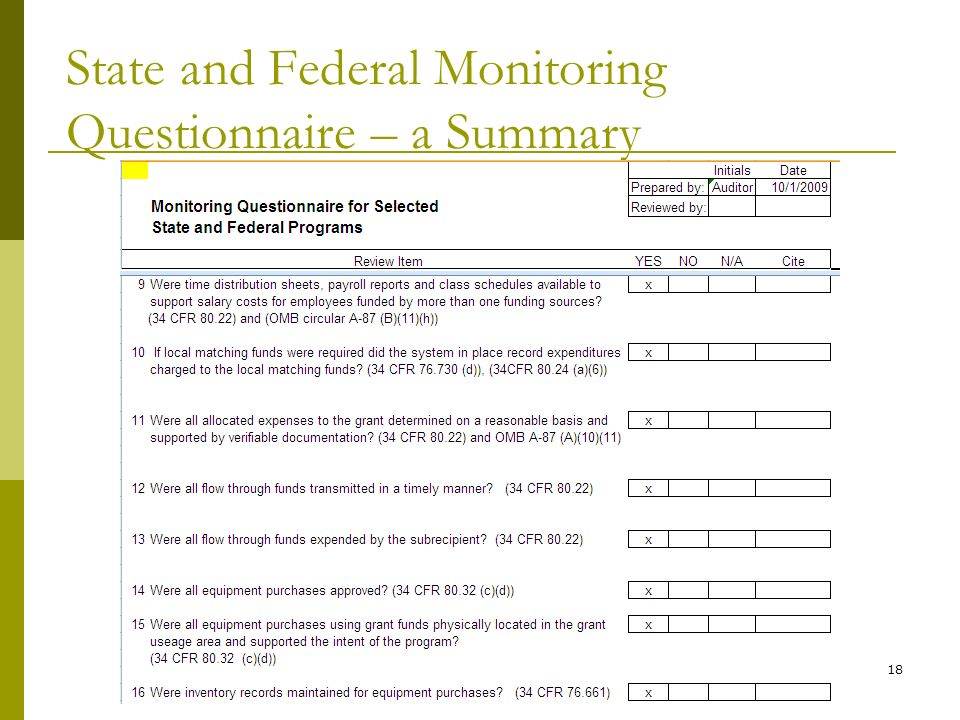 State and Federal Monitoring Questionnaire – a Summary 18