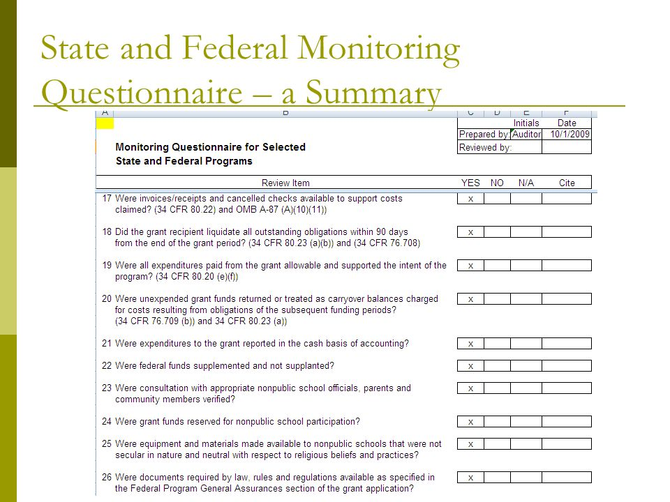 State and Federal Monitoring Questionnaire – a Summary