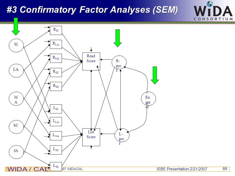 ISBE Presentation 2/21/2007 © 2007 WIDA/CAL 89 #3 Confirmatory Factor Analyses (SEM) R SS R SI R LA R MA R SC L SI L SS L LA L MA L SC List Score Read
