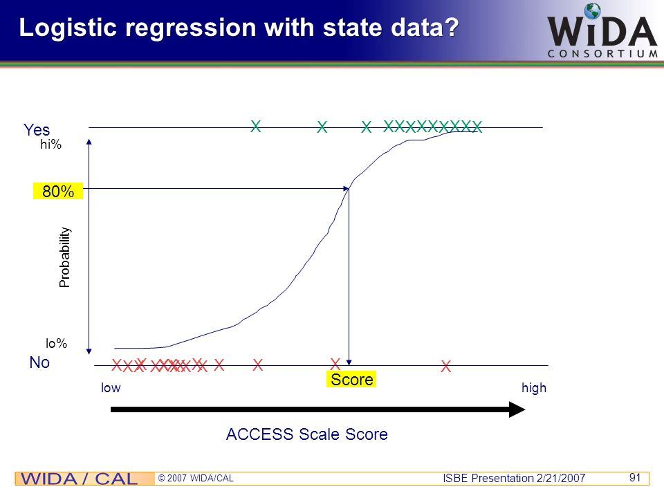 ISBE Presentation 2/21/2007 © 2007 WIDA/CAL 91 X XX XXX XX XXX X XX XX X No Logistic regression with state data? Yes XX X XX X XX X X XX ACCESS Scale