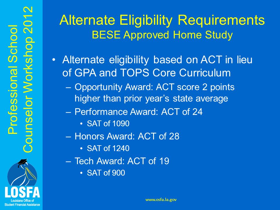 Professional School Counselor Workshop 2012 Alternate Eligibility Requirements BESE Approved Home Study Alternate eligibility based on ACT in lieu of