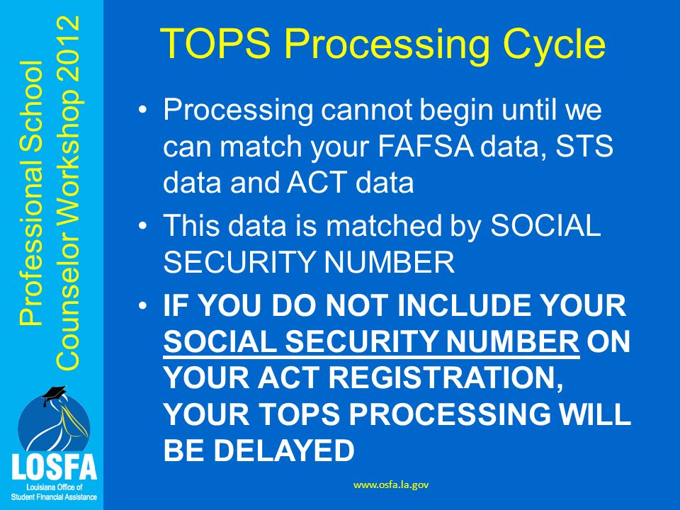 Professional School Counselor Workshop 2012 TOPS Processing Cycle Processing cannot begin until we can match your FAFSA data, STS data and ACT data Th