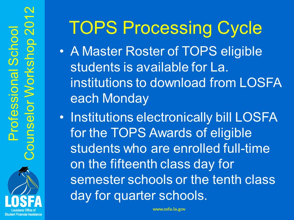 Professional School Counselor Workshop 2012 TOPS Processing Cycle A Master Roster of TOPS eligible students is available for La. institutions to downl