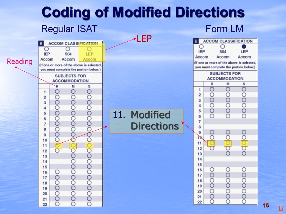 16 Form LMRegular ISAT Modified Directions Coding of Modified Directions B LEP Reading 11.