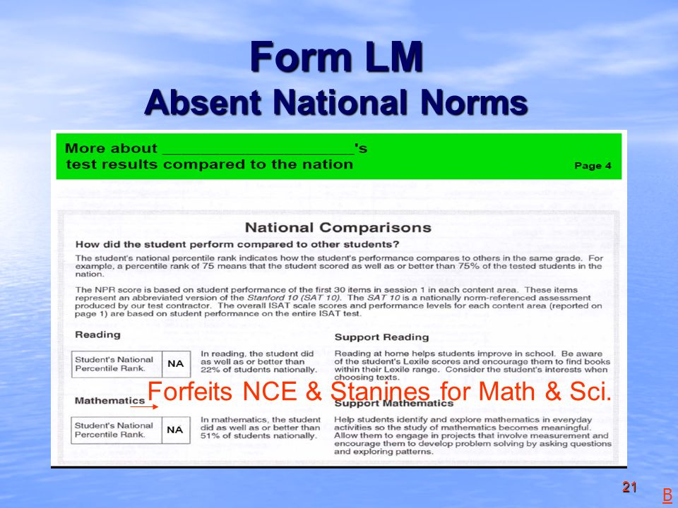 21 Form LM Absent National Norms Forfeits NCE & Stanines for Math & Sci. B