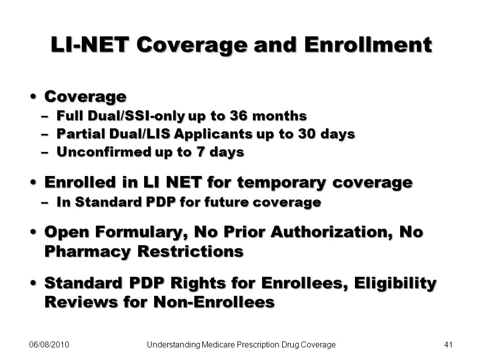 LI-NET Coverage and Enrollment CoverageCoverage –Full Dual/SSI-only up to 36 months –Partial Dual/LIS Applicants up to 30 days –Unconfirmed up to 7 da