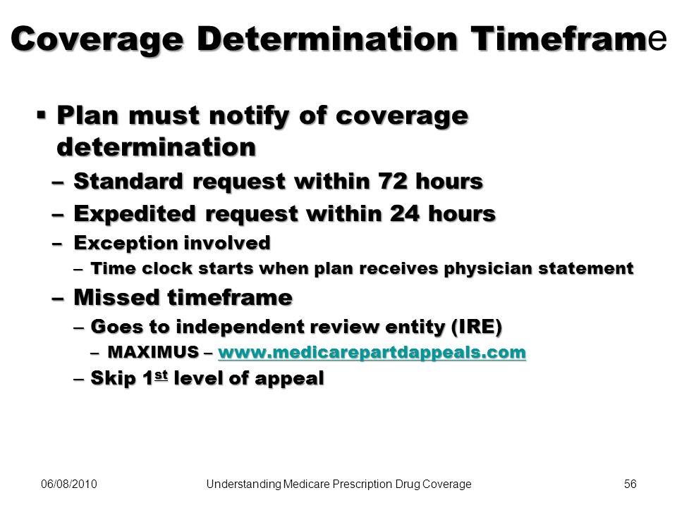 06/08/201056 Coverage Determination Timefram Coverage Determination Timefram e Plan must notify of coverage determination Plan must notify of coverage