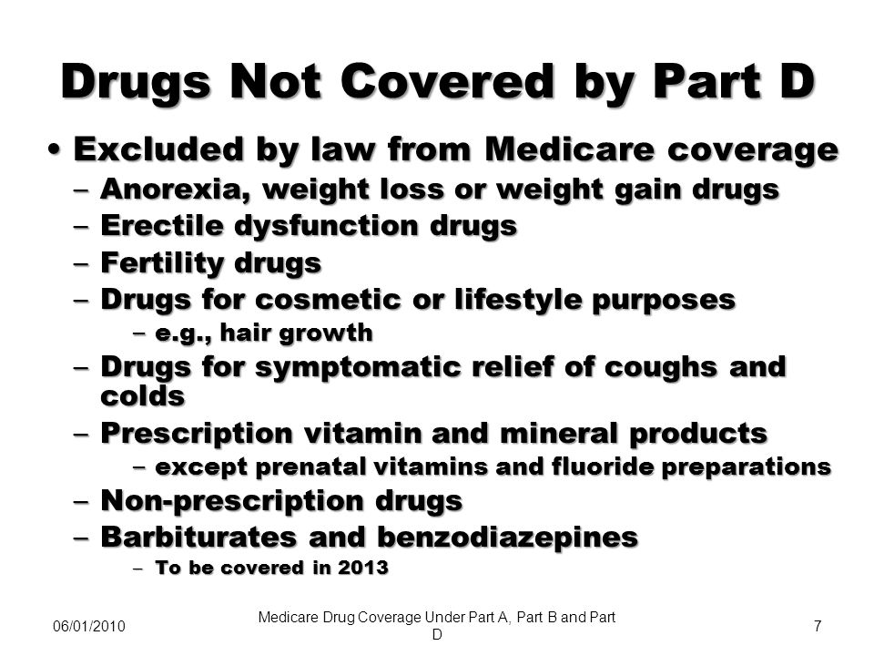 06/08/20108 Drugs Not Covered by Part D (continued) Medicare Part A or Part B covered drugsMedicare Part A or Part B covered drugs –Unless you dont meet Part A or B coverage requirements Plan may choose to cover excluded drugsPlan may choose to cover excluded drugs – At their own cost, or – Share the cost with members Understanding Medicare Prescription Drug Coverage