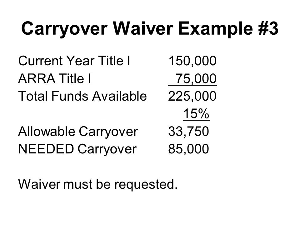 Carryover Waiver Example #3 Current Year Title I150,000 ARRA Title I 75,000 Total Funds Available225,000 15% Allowable Carryover33,750 NEEDED Carryove