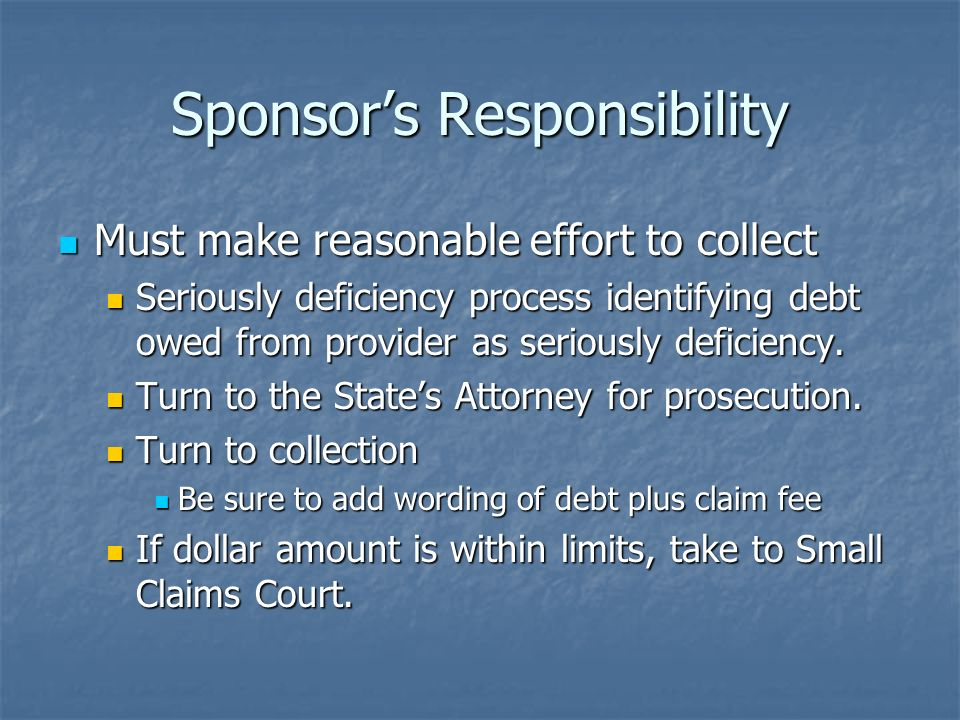 Sponsors Responsibility Must make reasonable effort to collect Must make reasonable effort to collect Seriously deficiency process identifying debt ow