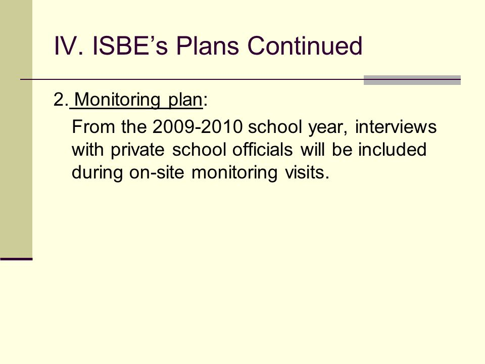 IV. ISBEs Plans To ensure that LEAs provide timely and meaningful consultation to appropriate private schools, ISBE plans the following: 1. A new elec