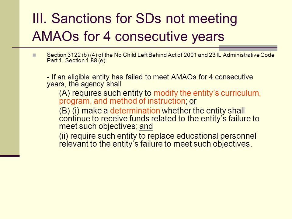 II. Sanctions for SDs not meeting AMAOs for 2 and 3 consecutive years Section 3122 (b) (2) of the No Child Left Behind Act of 2001 and 23 IL Administr