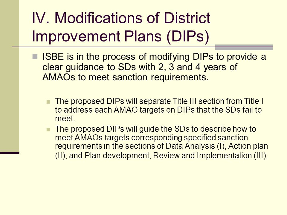 III. Sanctions for SDs not meeting AMAOs for 4 consecutive years Section 3122 (b) (4) of the No Child Left Behind Act of 2001 and 23 IL Administrative
