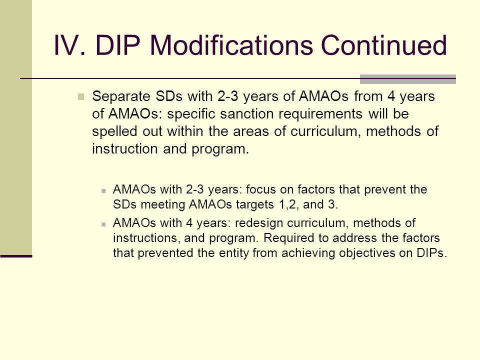 IV. Modifications of District Improvement Plans (DIPs) ISBE is in the process of modifying DIPs to provide a clear guidance to SDs with 2, 3 and 4 yea