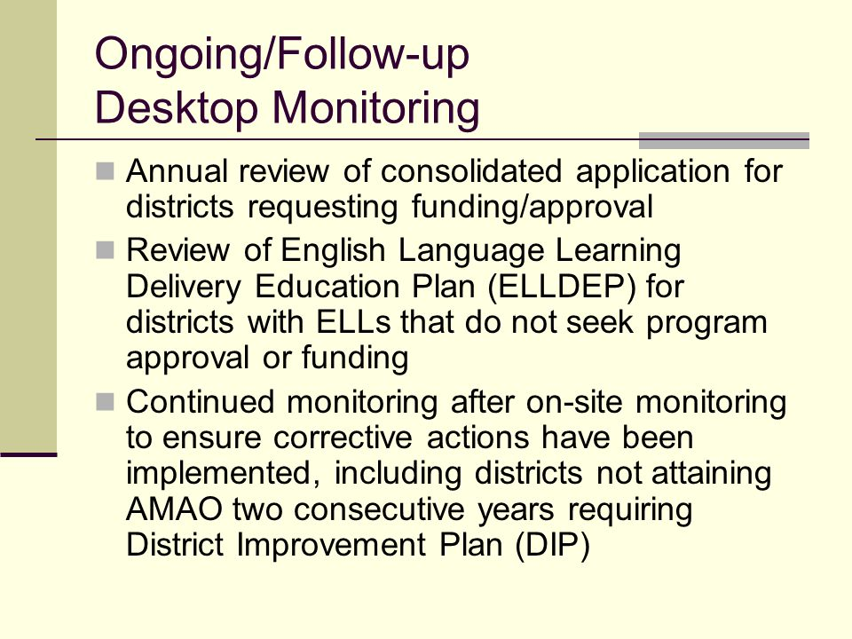 On-site Monitoring Process 1. District to be monitored will be notified one month in advance 2. DELL requests documents 3. DELL conducts on-site visit