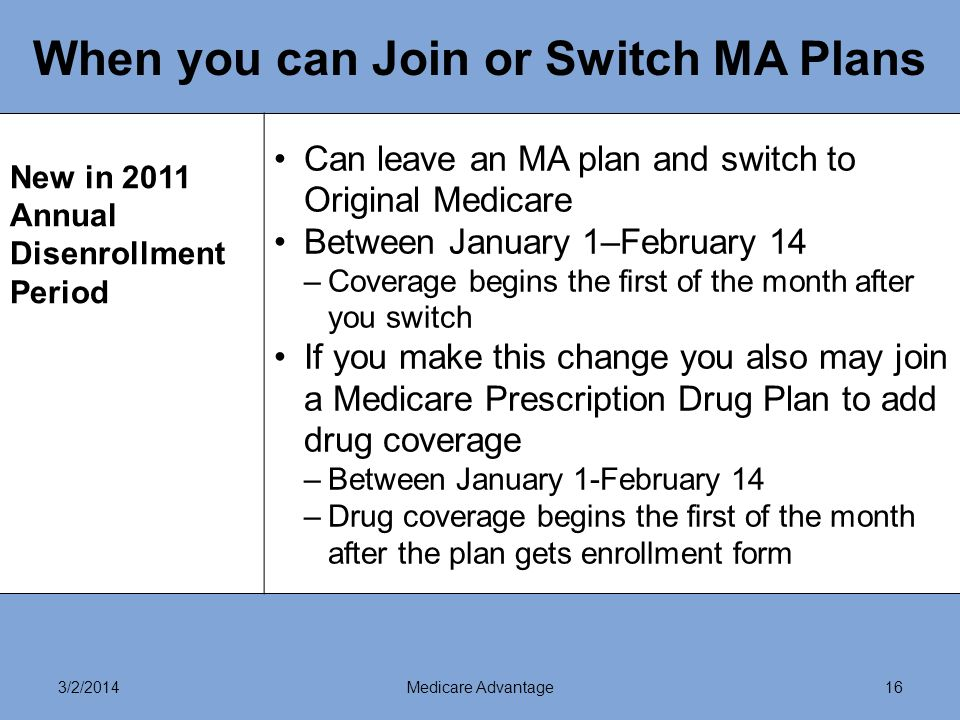 3/2/2014Medicare Advantage16 When you can Join or Switch MA Plans New in 2011 Annual Disenrollment Period Can leave an MA plan and switch to Original Medicare Between January 1–February 14 –Coverage begins the first of the month after you switch If you make this change you also may join a Medicare Prescription Drug Plan to add drug coverage –Between January 1-February 14 –Drug coverage begins the first of the month after the plan gets enrollment form