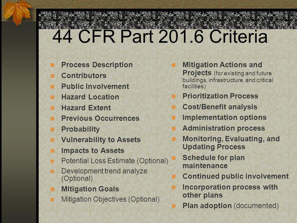 44 CFR Part 201.6 Criteria Process Description Contributors Public Involvement Hazard Location Hazard Extent Previous Occurrences Probability Vulnerab