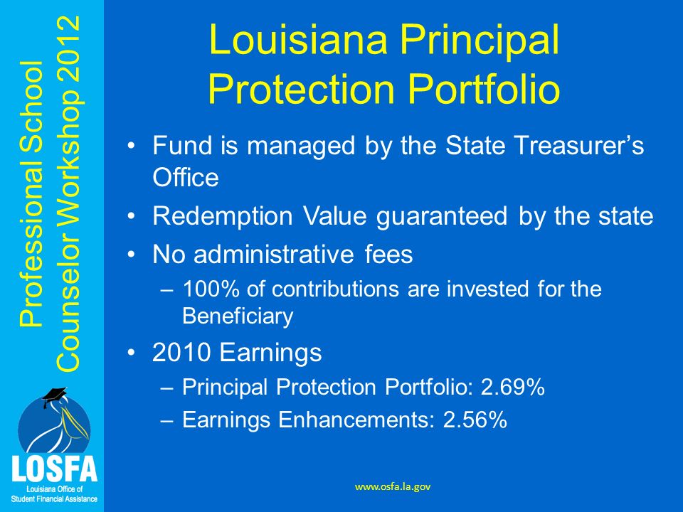 Professional School Counselor Workshop 2012 Louisiana Principal Protection Portfolio Fund is managed by the State Treasurers Office Redemption Value g
