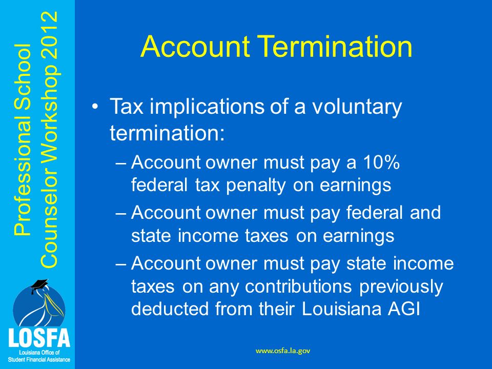 Professional School Counselor Workshop 2012 Account Termination Tax implications of a voluntary termination: –Account owner must pay a 10% federal tax