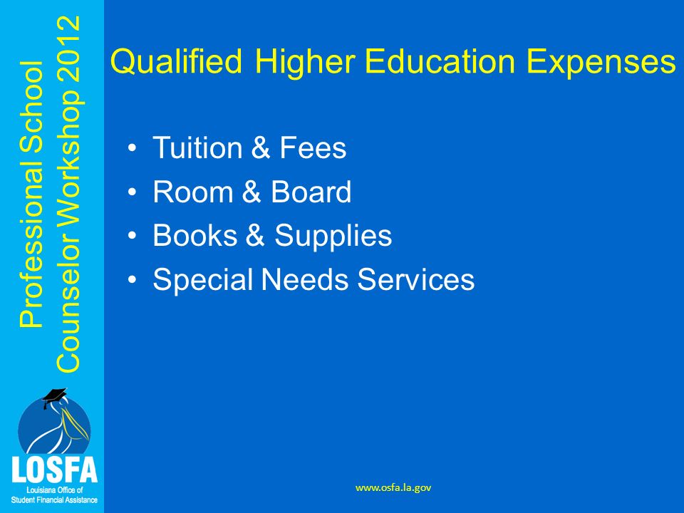 Professional School Counselor Workshop 2012 Qualified Higher Education Expenses Tuition & Fees Room & Board Books & Supplies Special Needs Services ww
