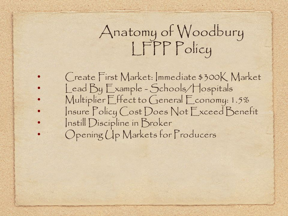 Anatomy of Woodbury LFPP Policy Create First Market: Immediate $300K Market Lead By Example - Schools/Hospitals Multiplier Effect to General Economy: 1.5% Insure Policy Cost Does Not Exceed Benefit Instill Discipline in Broker Opening Up Markets for Producers