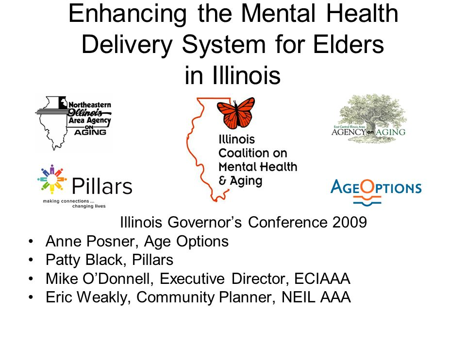 Enhancing the Mental Health Delivery System for Elders in Illinois Illinois Governors Conference 2009 Anne Posner, Age Options Patty Black, Pillars Mike ODonnell, Executive Director, ECIAAA Eric Weakly, Community Planner, NEIL AAA