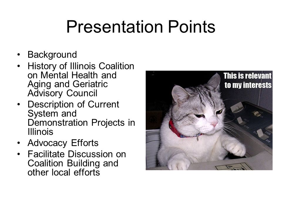 Presentation Points Background History of Illinois Coalition on Mental Health and Aging and Geriatric Advisory Council Description of Current System and Demonstration Projects in Illinois Advocacy Efforts Facilitate Discussion on Coalition Building and other local efforts