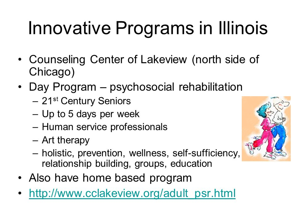 Innovative Programs in Illinois Counseling Center of Lakeview (north side of Chicago) Day Program – psychosocial rehabilitation –21 st Century Seniors –Up to 5 days per week –Human service professionals –Art therapy –holistic, prevention, wellness, self-sufficiency, relationship building, groups, education Also have home based program http://www.cclakeview.org/adult_psr.html