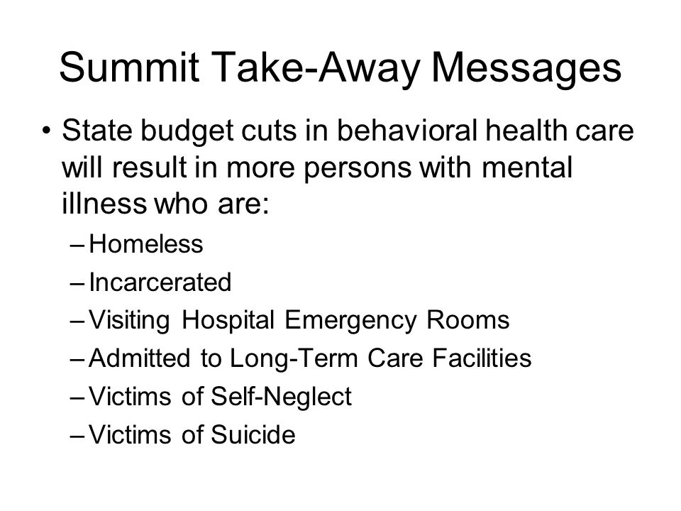 State budget cuts in behavioral health care will result in more persons with mental illness who are: –Homeless –Incarcerated –Visiting Hospital Emergency Rooms –Admitted to Long-Term Care Facilities –Victims of Self-Neglect –Victims of Suicide Summit Take-Away Messages