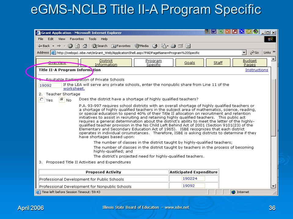Illinois State Board of Education – www.isbe.net April 200636 eGMS-NCLB Title II-A Program Specific