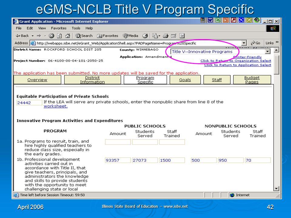 Illinois State Board of Education – www.isbe.net April 200642 eGMS-NCLB Title V Program Specific