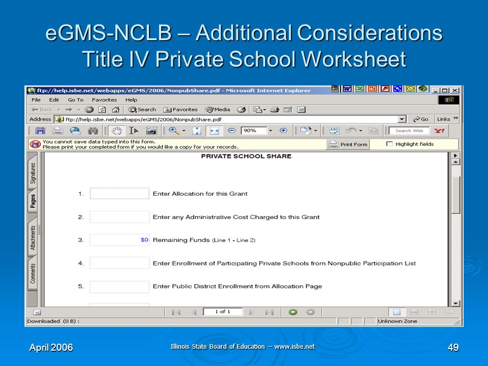 Illinois State Board of Education – www.isbe.net April 200649 eGMS-NCLB – Additional Considerations Title IV Private School Worksheet