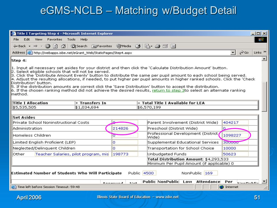 Illinois State Board of Education – www.isbe.net April 200651 eGMS-NCLB – Matching w/Budget Detail