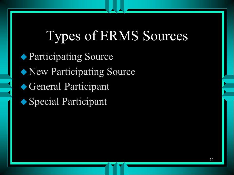 u Participating Source u New Participating Source u General Participant u Special Participant 11