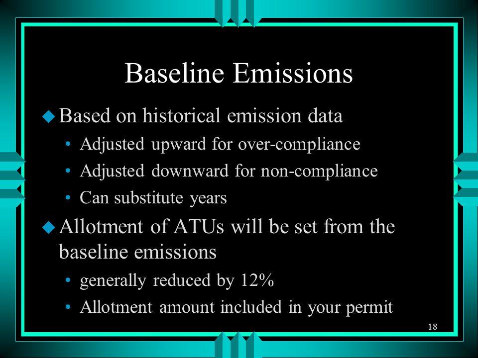 Baseline Emissions u Based on historical emission data Adjusted upward for over-compliance Adjusted downward for non-compliance Can substitute years u