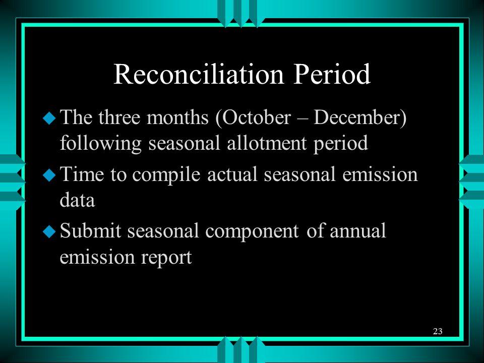 Reconciliation Period u The three months (October – December) following seasonal allotment period u Time to compile actual seasonal emission data u Su