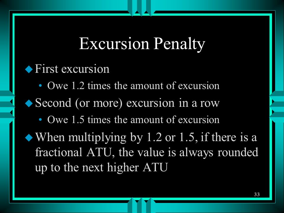 Excursion Penalty u First excursion Owe 1.2 times the amount of excursion u Second (or more) excursion in a row Owe 1.5 times the amount of excursion