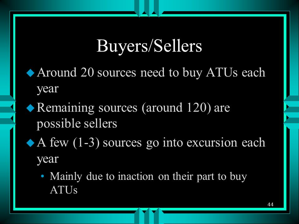 Buyers/Sellers u Around 20 sources need to buy ATUs each year u Remaining sources (around 120) are possible sellers u A few (1-3) sources go into excu