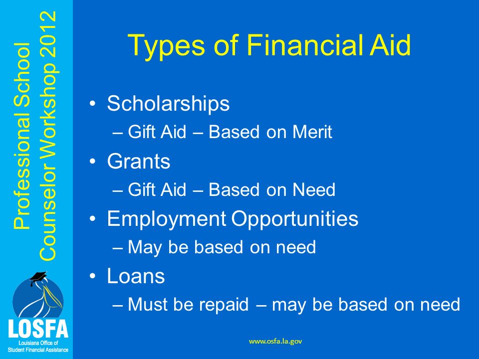 Professional School Counselor Workshop 2012 Types of Financial Aid Scholarships –Gift Aid – Based on Merit Grants –Gift Aid – Based on Need Employment