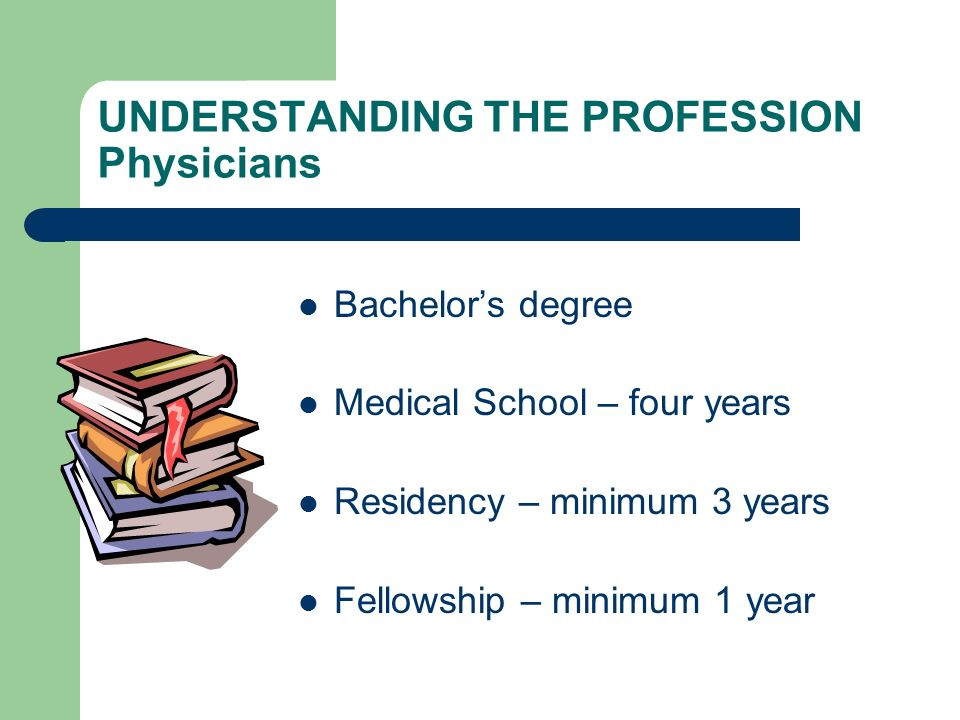 UNDERSTANDING THE PROFESSION Physicians Bachelors degree Medical School – four years Residency – minimum 3 years Fellowship – minimum 1 year