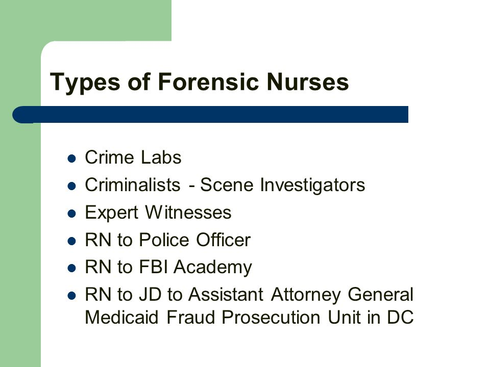 Types of Forensic Nurses Crime Labs Criminalists - Scene Investigators Expert Witnesses RN to Police Officer RN to FBI Academy RN to JD to Assistant A