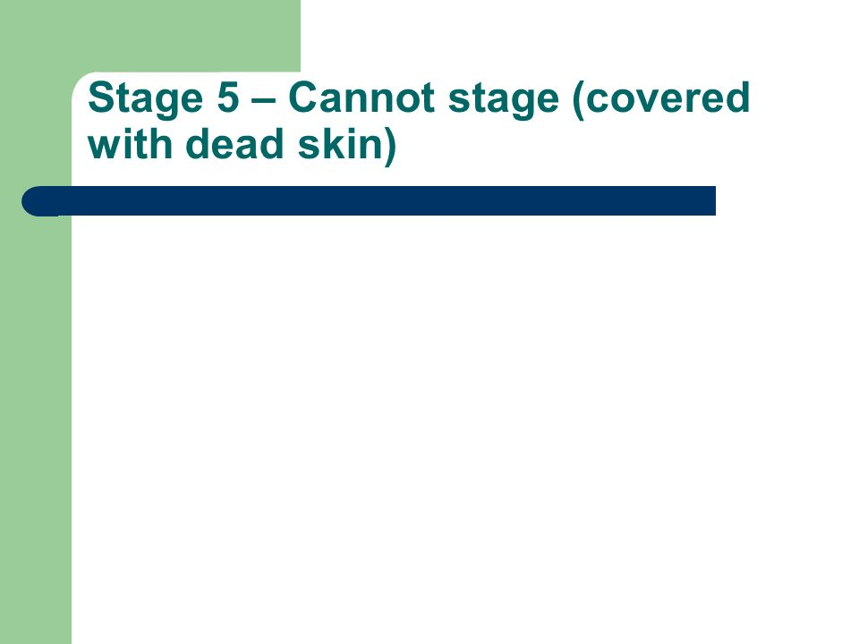 Stage 5 – Cannot stage (covered with dead skin)