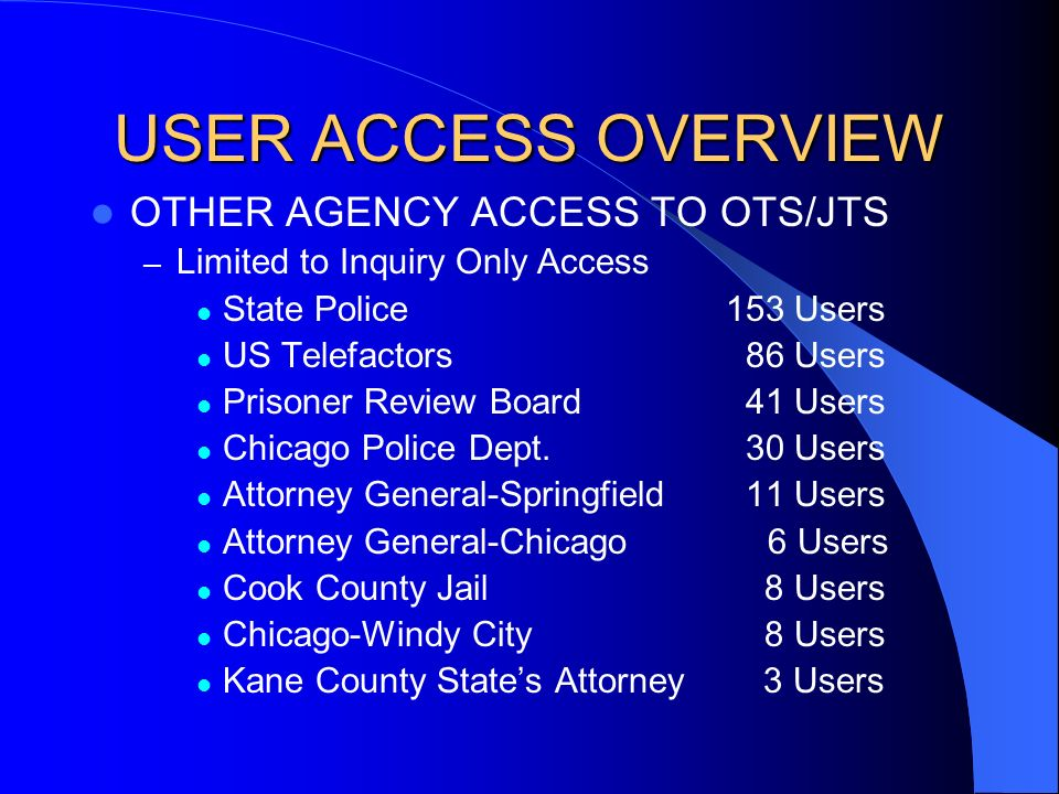 USER ACCESS OVERVIEW OTHER AGENCY ACCESS TO OTS/JTS – Limited to Inquiry Only Access State Police153 Users US Telefactors 86 Users Prisoner Review Board 41 Users Chicago Police Dept.