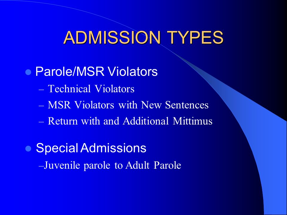 ADMISSION TYPES Parole/MSR Violators – Technical Violators – MSR Violators with New Sentences – Return with and Additional Mittimus Special Admissions