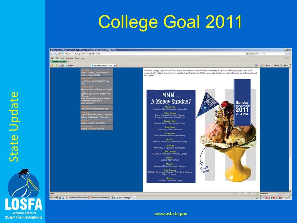State Update www.osfa.la.gov College Goal 2011