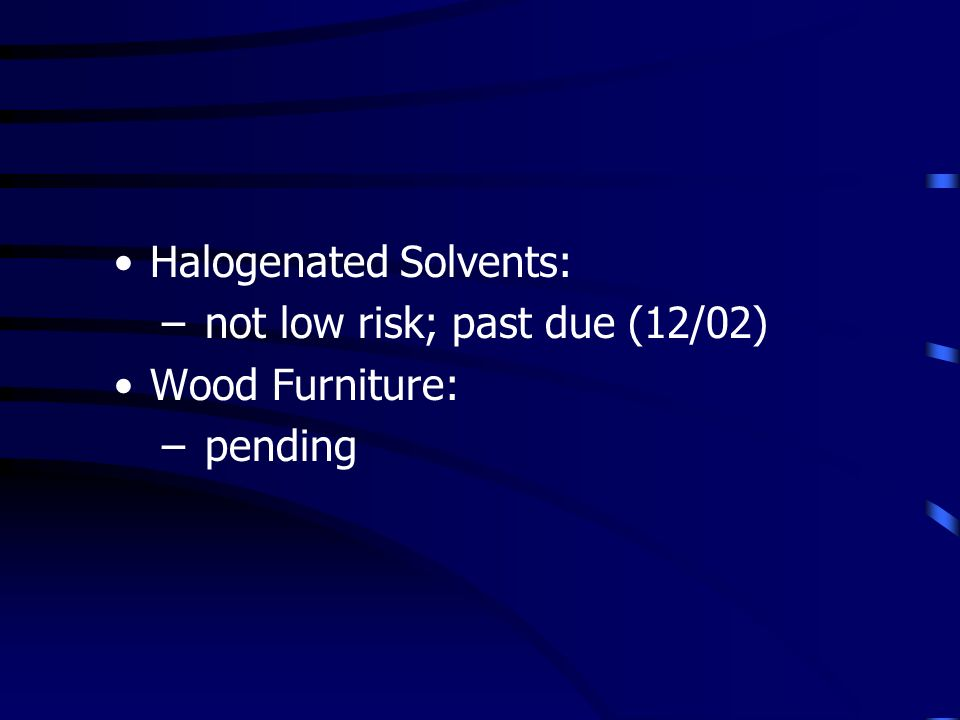 Halogenated Solvents: – not low risk; past due (12/02) Wood Furniture: – pending