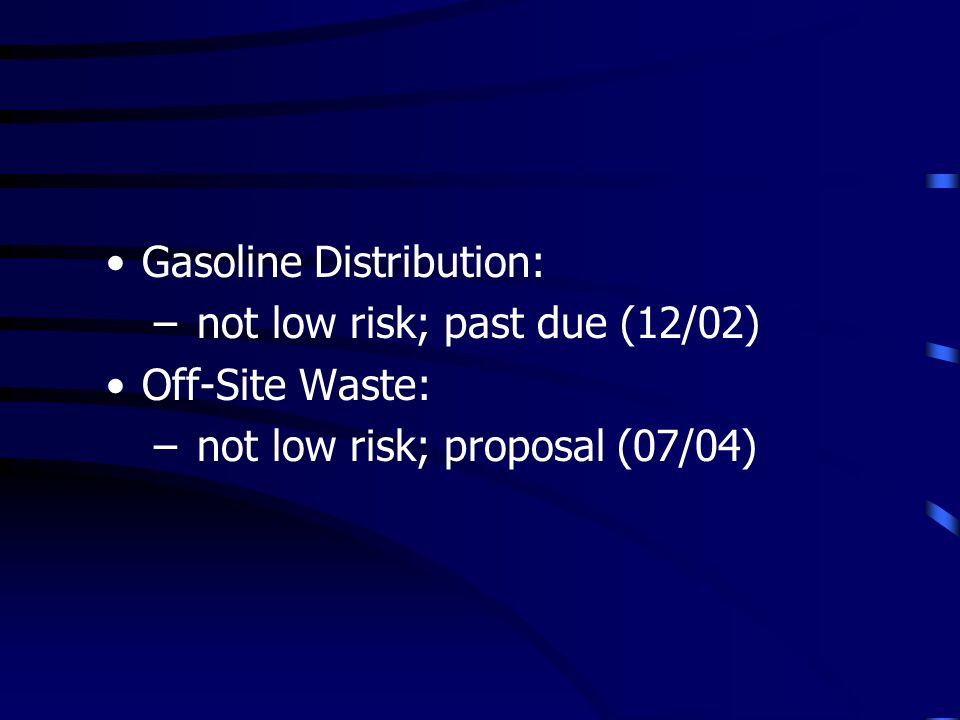 Gasoline Distribution: – not low risk; past due (12/02) Off-Site Waste: – not low risk; proposal (07/04)