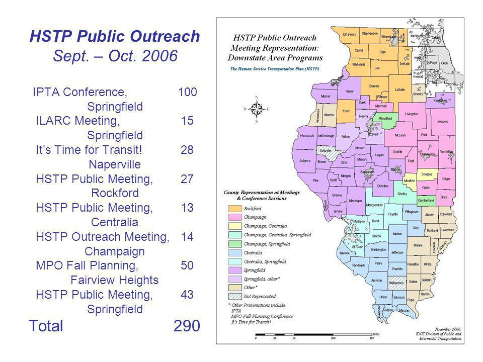 HSTP Public Outreach Sept. – Oct. 2006 IPTA Conference,100 Springfield ILARC Meeting,15 Springfield Its Time for Transit!28 Naperville HSTP Public Mee