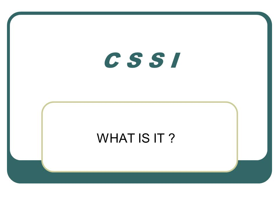 C S S I WHAT IS IT ?
