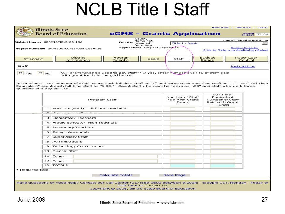Illinois State Board of Education –   June, NCLB Title I Staff